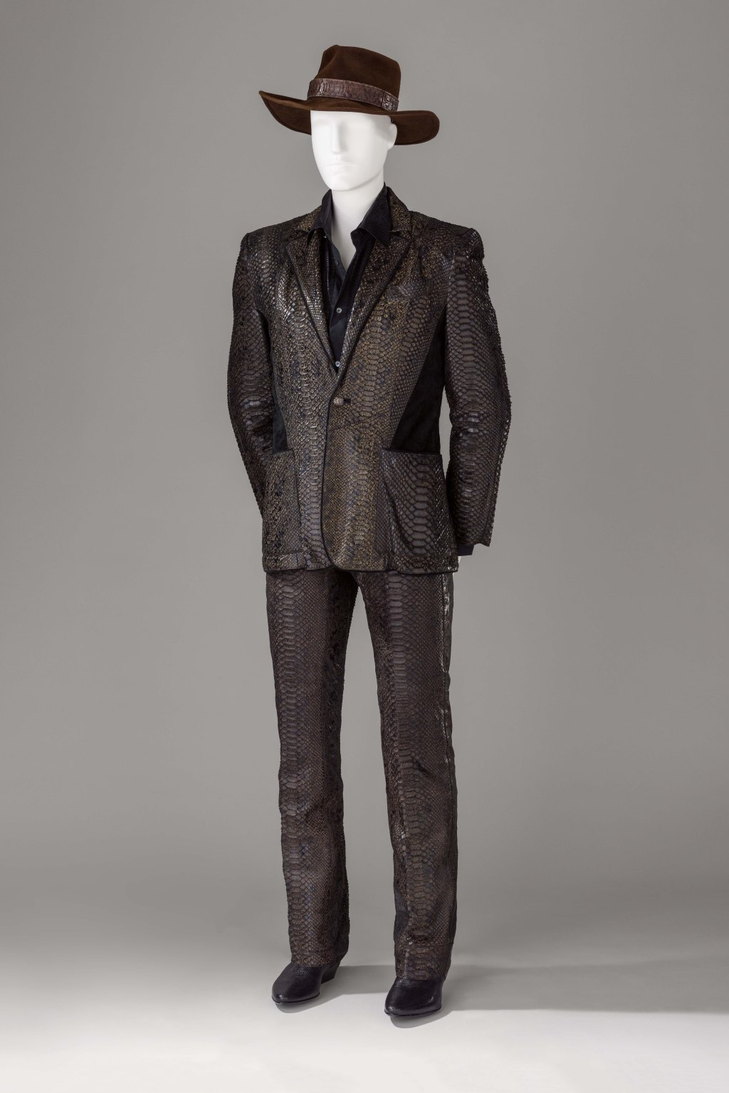 James Goldstein's python Roberto Cavalli suit.